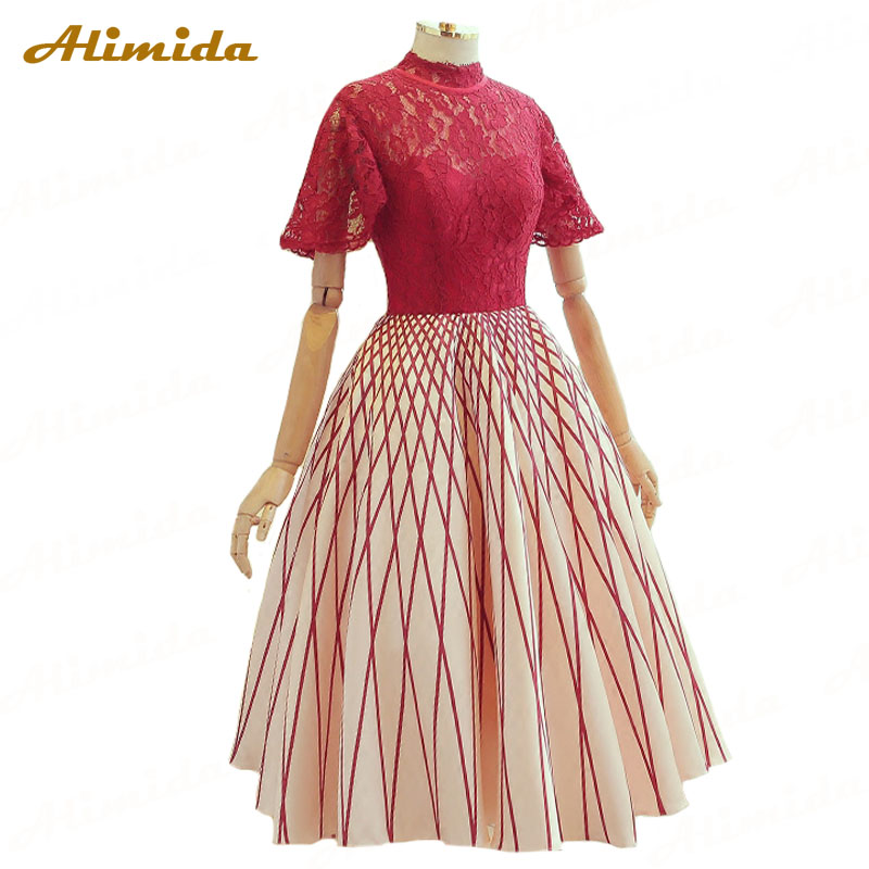 Alimida Short Evening Dress 2017 A Line Red Carpet Prom Dresses Lace