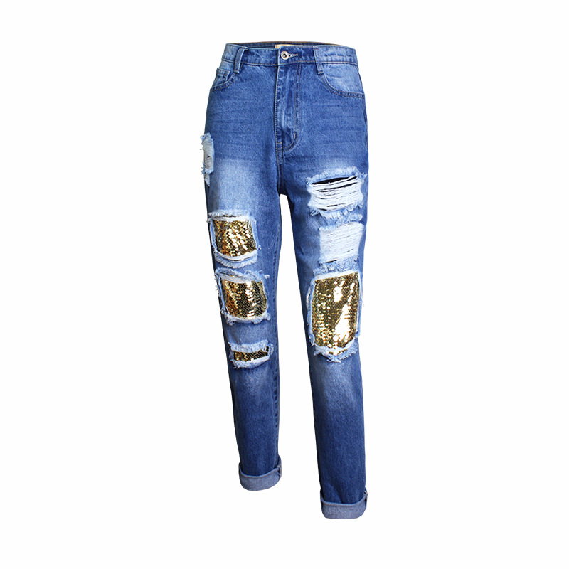 Hole Ripped Boyfriend   Jeans   For Women Hight Waist Sequins Beading Blue Torn   Jeans   Woman Trousers Pants Calca Push Up Femme Mujer