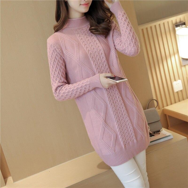 Suéteres y suéteres de invierno 2019 de cuello alto abrigados gruesos para mujeres y pulóveres de punto de manga larga para mujer