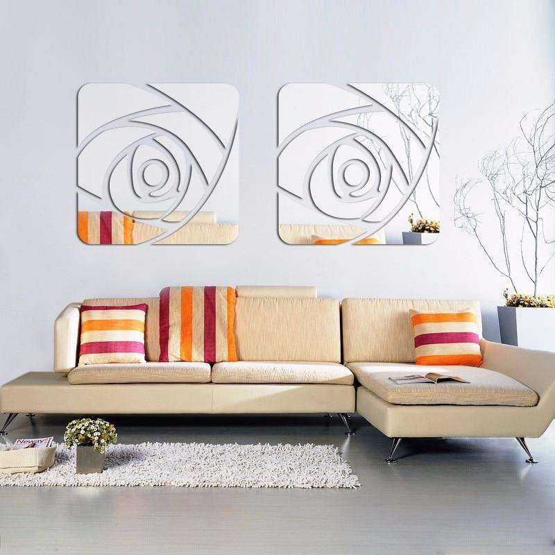 4 flores de set 3D Poster Espejo Pegatinas de Pared de Acrílico Etiqueta de La Pared Patrón de Rosa Arte de la Pared Tatuajes de la Sala Dormitorio Decoración
