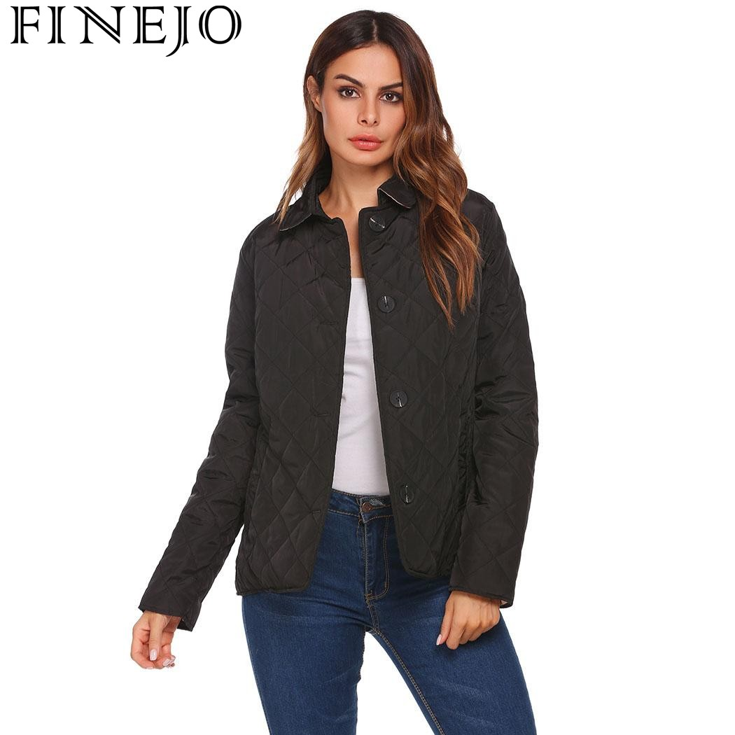 FINEJO Autumn Winter Jackets Coats New Women Casual Turn Down Collar Long Sleeve Solid Button End With Pocket Coat inc new women s xl solid pink tie front two pocket button down shirt $59 141