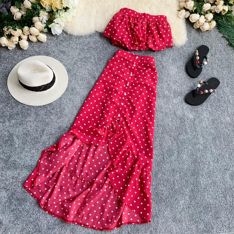 Summer Chiffon Dot Two Piece Set Casacos New 2019 Women Strapless And Irregular Skirt Suits Woman Beach Sexy 2 Pcs Sets Twinset