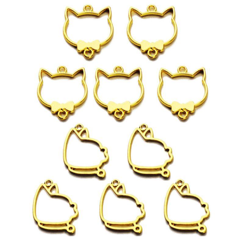 5Pcs Gold Pet Cat Dog Charm Blank Resin Frame Pendant Open Bezel Jewelry Making