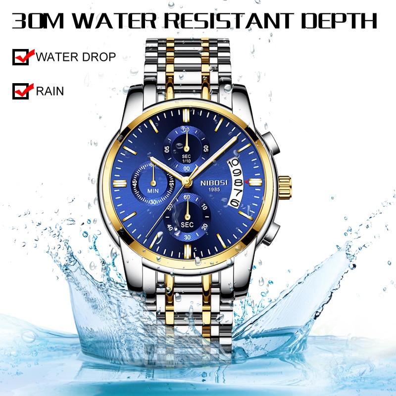 NIBOSI Luxury Business Men Quartz Watches Luminous Waterproof Military Sport Watch Male Wristwatches Relogio Masculino 2019