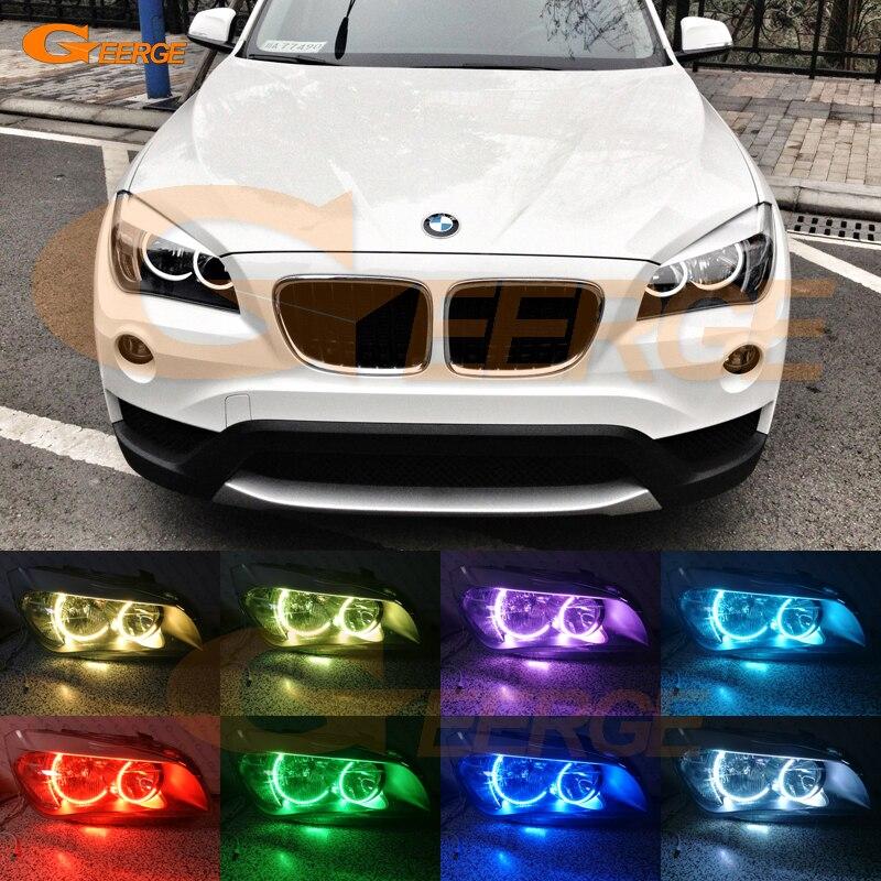 Для BMW Х1 E84 2010 2011 2012 2013 2014 Галогенные фары Ультра яркий Мульти Цвет C-образный RGB светодиодные глаза ангела комплект