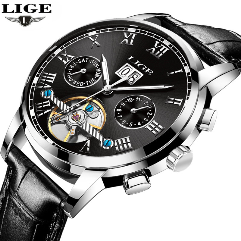 2017 LIGE Luxury Brand Automatic Machinery Watches Men Leather Waterproof Business Watch Man Fashion Clock Relogio Masculino коврик для мышки printio the war of the trees