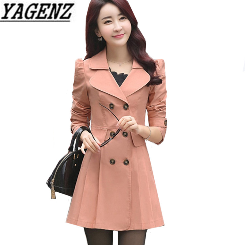 Female Windbreaker 2018 Spring Elegant Slim Medium Long Lady Outerwear Double Breasted Casual Lady   Trench   Coat Fashion Clothing