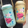 Recomendar personalizado marca de design de moda linda carta saco garrafa de bebida garrafa de refrigerante de forma bolsa de ombro meninas bolsa de presente