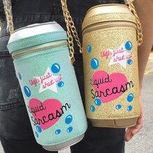 Recommend personalized brand design fashion lovely letter bag beverage bottle soda bottle shape shoulder bag girls handbag gift