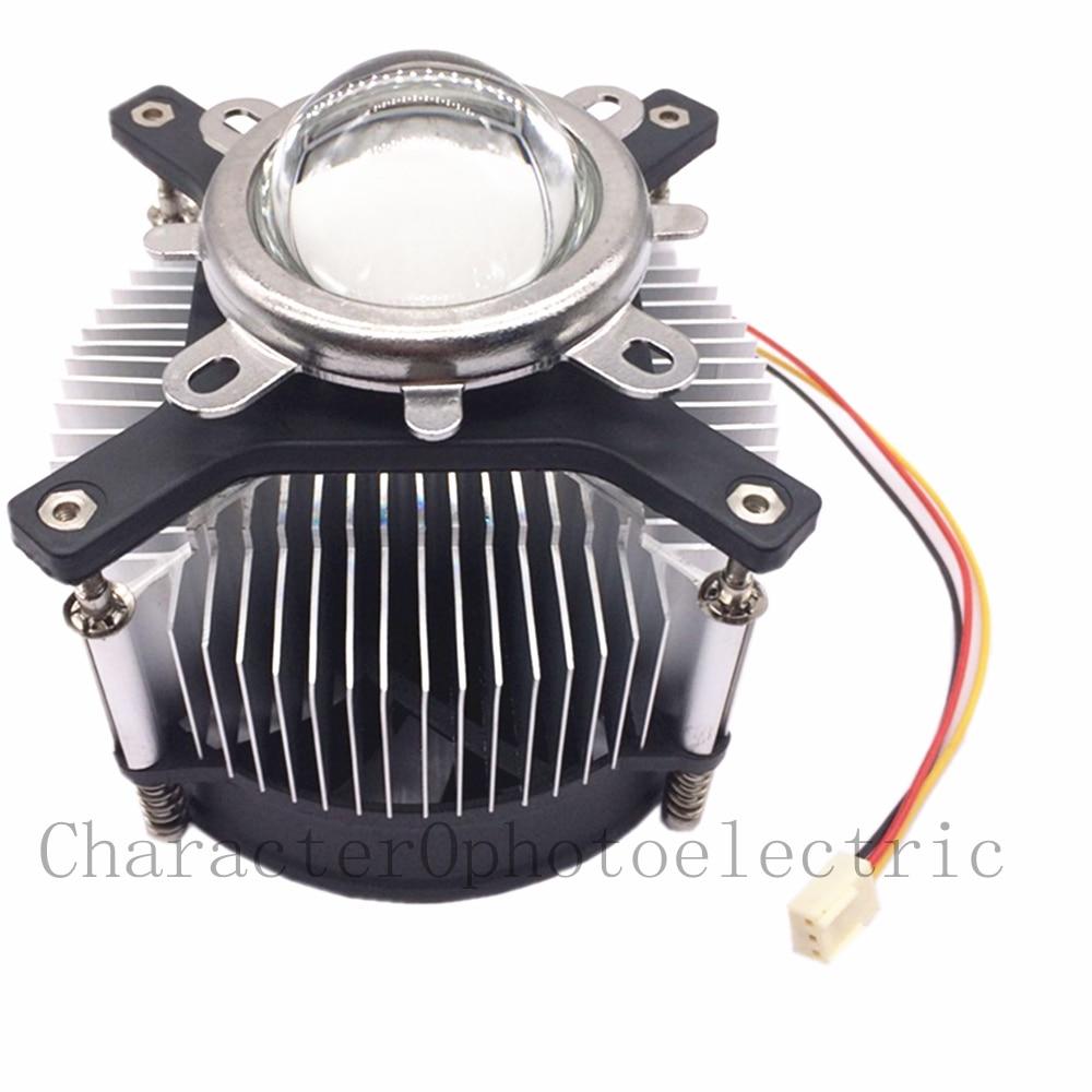 50w 100w LED high power led heatsink DC 12V 1.2A cooling fan +44mm lens kit for 20W 30W 50W Diy