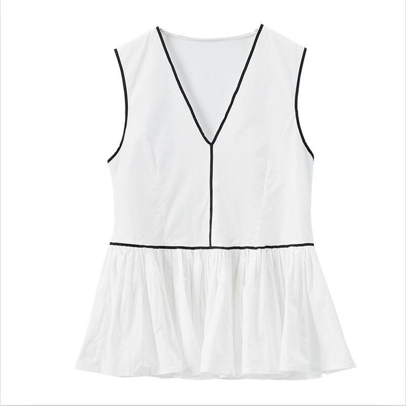 2020 Women Summer V-neck Casual Loose Tops Solid Elegant Ruffles Thin Cotton Linen Tanks Plus Size Women Tops M-7XL