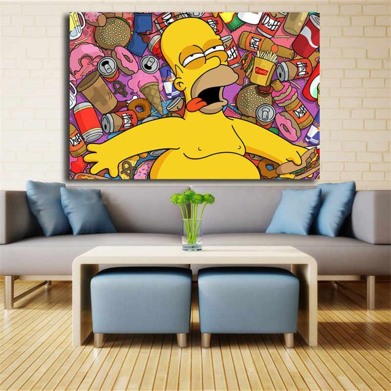 Homer Bart Simpsoning Kartun Wallpaper HD Kanvas Poster Cetak Dinding Seni Lukisan Dekoratif Gambar untuk Dekorasi Rumah Modern