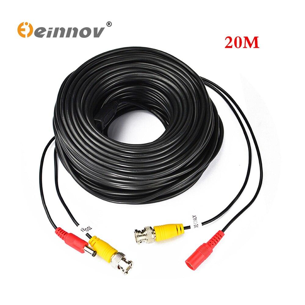Einnov 20 M metros de Video BNC y adaptador de corriente 12 V DC Cable integrado para analógicas de CCTV DVR SISTEMA DE LA CÁMARA kit de