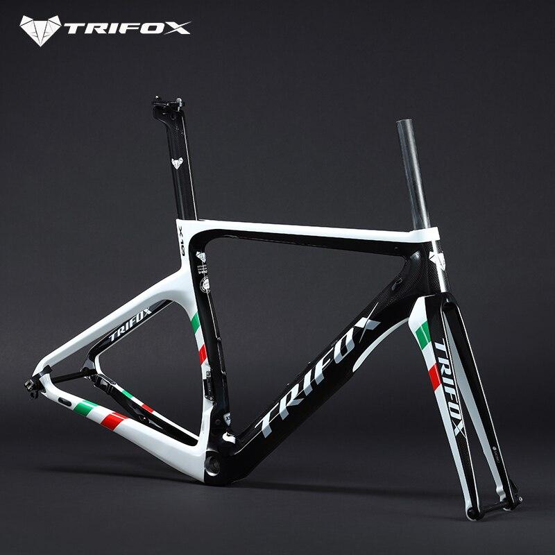 TRIFOX Carbon Road Bike Frame Disc Brakes Di2 Mechanical 3K  Carbon Fibre Road Cycling BB68 Bicycle Frameset Bike