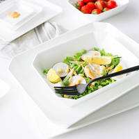 Brand Brief Europe Style White Bone China Plates Dishes Ceramic Tableware Rectangle Geometric Steak Plates Pasta