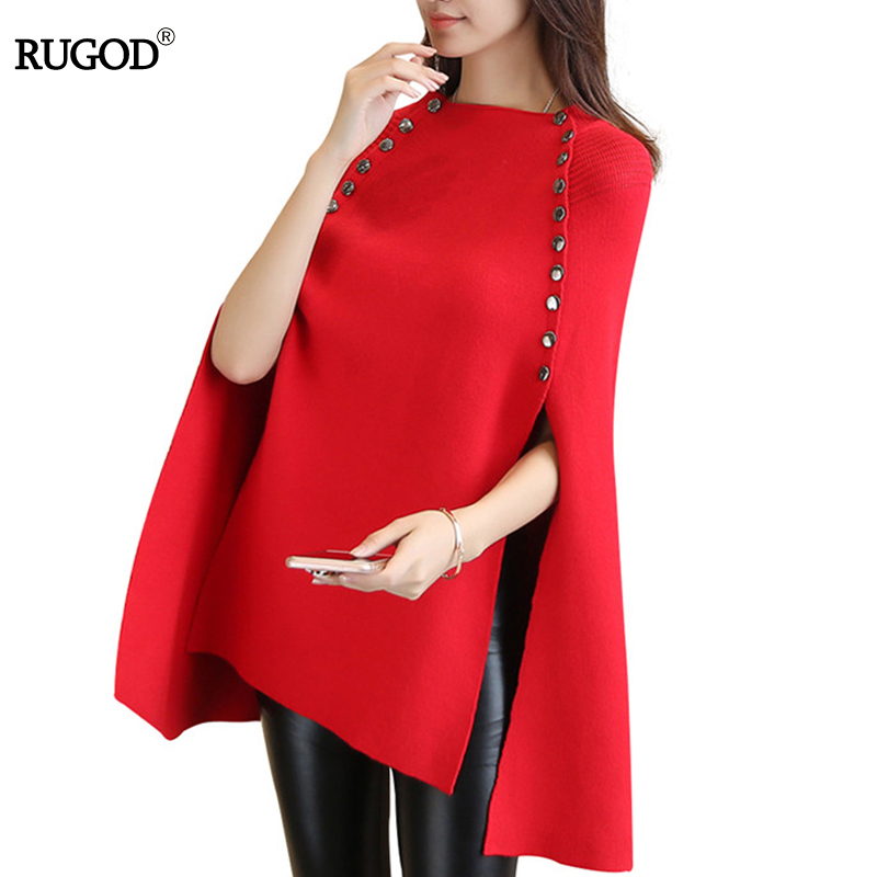 RUGOD 2017 Christmas Sweater Solid Long Batwing Sleeve Women Sweaters And Pullovers Over Size O-neck Button Cloak Poncho