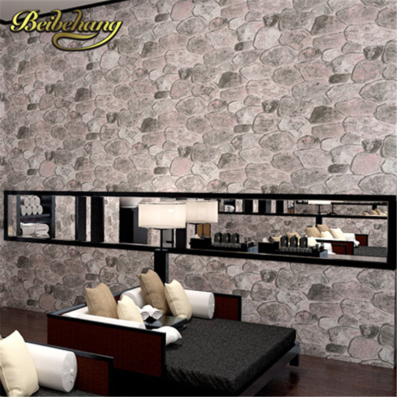 beibehang Pvc wallpaper stone wood pattern wall paper roll modern simple wallcovering for KTV papel de parede listrado wallpaper modern vintage pvc 3d stone brick printing style vinyl waterproof pattern wallpaper wall paper roll papel de parede 10m