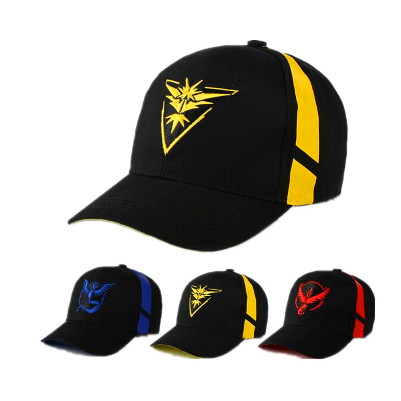 Cosplay Mobile game Pokemon Go Team Valor Team Mystic Team Instinct snapback baseball Cap hat new cartoon pikachu cosplay cap black novelty anime pocket monster ladies dress pokemon go hat charms costume props baseball cap