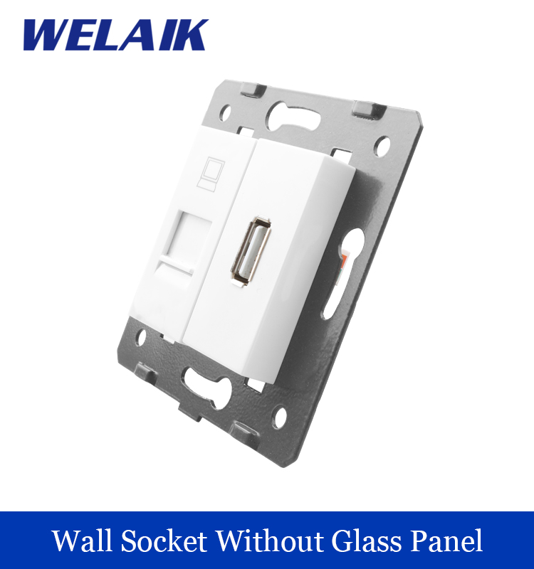 WELAIK EU Standard Computer and USB Socket DIY Parts  White Wall Computer and USB Socket parts Without Glass Panel A8COUS high quality double computer network socket large panel 86type wall socket simple classic white and gold