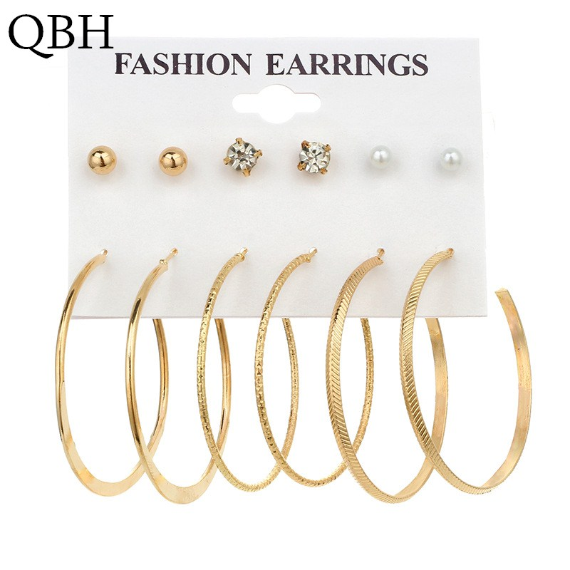 Jewelry & Accessories New Fashion Ek493 6 Pairs/set Earring Set European Simple Punk Crystal Pearl Small Ball Big Circle Round Hoop Earrings For Women Jewelry Always Buy Good