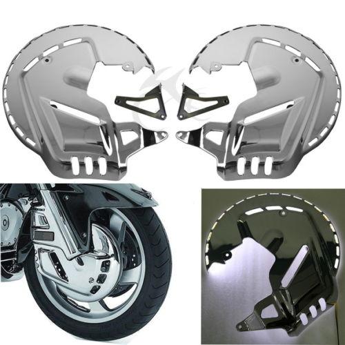 For Honda GOLDWING GL1800 Chrome Front Brake Disc Covers + LED ring of fire blue brake disc rotors covers for honda goldwing gl1800 2001 2014