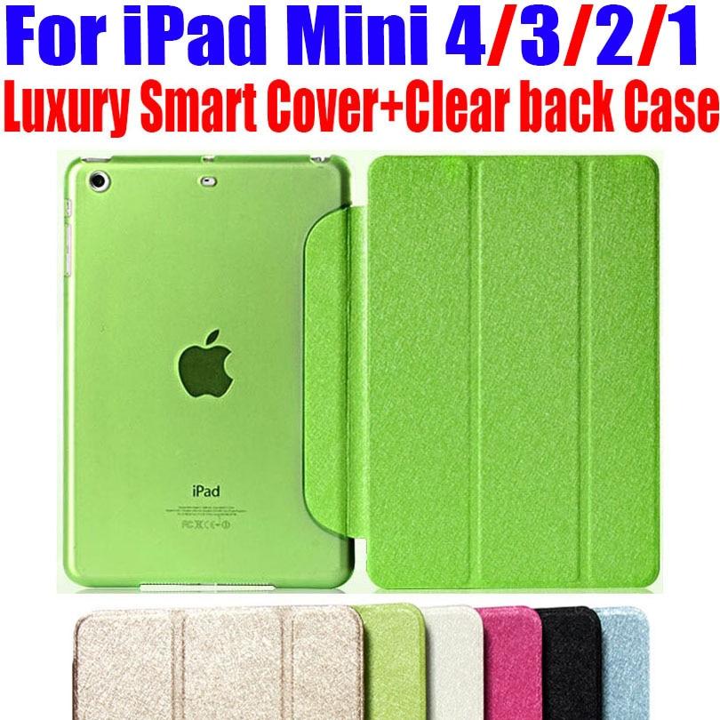 Neueste luxusstand ledertasche für ipad mini 4/3/2/1 intelligente abdeckung durchscheinend klar zurück case für ipad mini 4 3 2 1 keine: