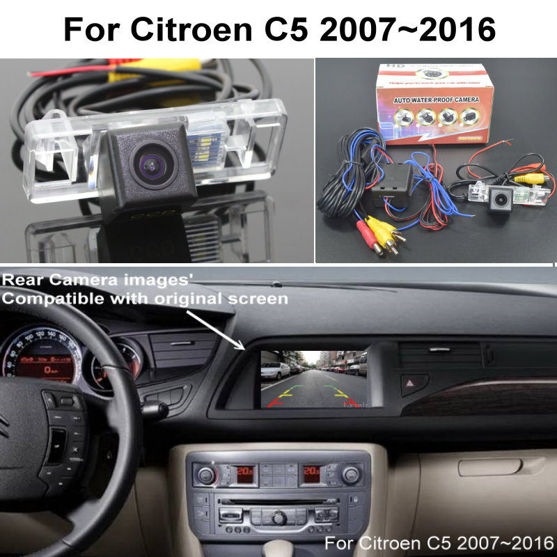 RCA & Original Screen Compatible Adapter For Citroen C5 2007~2016 Car Rear View Camera Back Up Reverse Camera CCD Night Vision