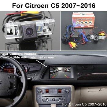 RCA & Original Screen Compatible Adapter For Citroen C5 2007~2016 Car Rear View Camera Back Up Reverse Camera CCD Night Vision for honda civic fb exi 2011 2016 car back up reverse camera car rear view camera sets rca