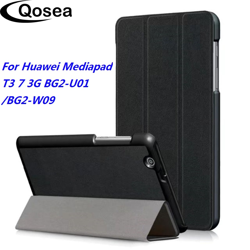 Qosea For Huawei Mediapad T3 7 3G BG2-U01 PU Leather Smart Stand Tablet PC Case For Huawei Mediapad T3 7 BG2-W09 Coque Cover