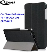 Qosea For Huawei Mediapad T3 7 3G BG2-U01 PU Leather Smart Stand Tablet PC Case For Huawei Mediapad T3 7 3G Coque Cover slate 7 3g tablet case for hp slate 7 3g g1v99pa stand leather case with hand holder screen protectors
