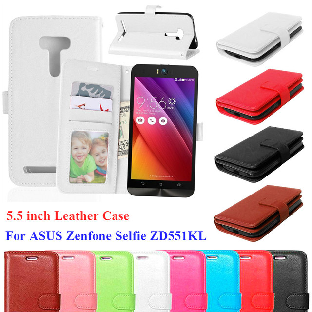 buy popular 79c02 e611f US $3.33 5% OFF|Luxury Wallet Stand flip Cover Case For Asus Zenfone Selfie  ZD551KL Case With Credit Card Holder Mobile Phone Cases in stock-in Flip ...