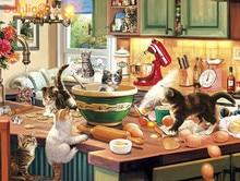 猫キッチンかわいい動物アートハンドメイド刺繍刺繍 diy クロスステッチキット工芸品 14CT されていない家の装飾壁の芸術