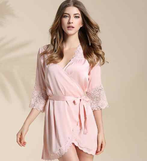 8315bb9294992 Sexy Bridesmaid Short Satin Bride Robe Lace Kimono Women Wedding Sleepwear  Summer Female Bathrobe Lingerie Clothes Home Femme