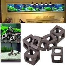 5 pçs esconder caverna camarão cerâmica pedra aquário ornamento tanque de peixes cubo quadro diy decoração acessórios akvaryum aquario decoração