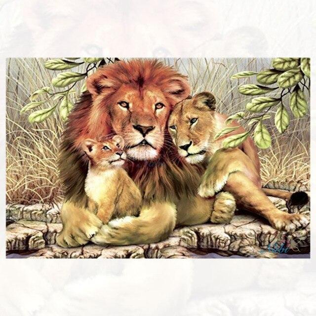 דיאמנט ציור יהלום עגול רקמה-אריה רקום יהלומי ציור פסיפס עבור צלב סטיץ סריגת מחטים