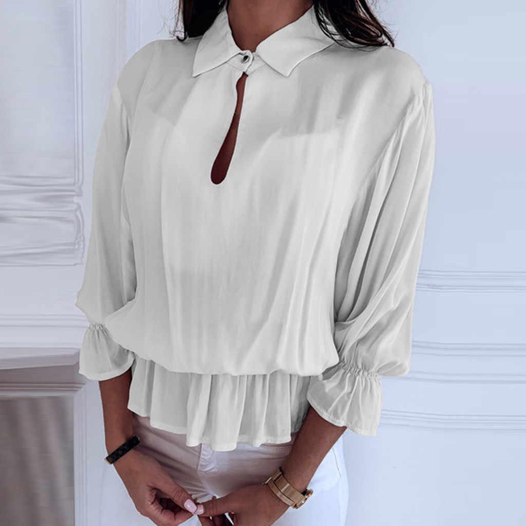 Feitong Blouse Chemsiter Kimono Women Solid 3/4 Sleeve Ruffled Elastic Band Button-Open Lantern Sleeve Ruffles Collar Top Blouse