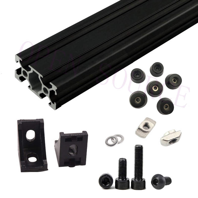 Black AM8 3D Printer Aluminum Extrusion Profile Metal Frame Full Kit w/ Nuts Screw Bracket Corner F/ Anet A8 upgrade