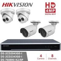 Hikvision IP Camera Kits NVR DS 7608NI K2/8P 8CH 8POE H.265 2SATA + Dome / Bullet 4MP IP Camera CCTV Kits for Home/Office Safety