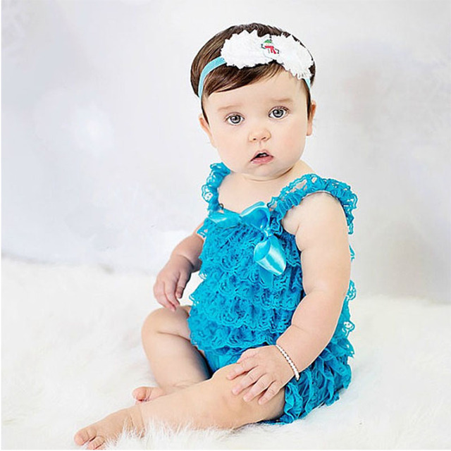 Zcaynger Roupa Das Meninas Do Bebê Azul Ruffled Lace Romper Do Bebê Criança Crianças Macacão Bebê Recém-nascido 1th Roupa Da Foto do Aniversário