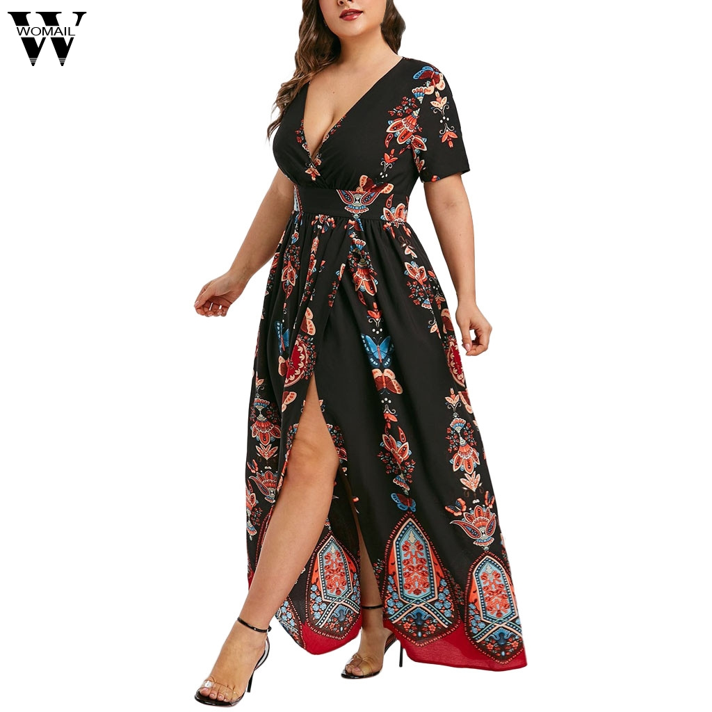 Womail Dress Women's Casual Dresses Plus Size Fashion Butterfly Printed V-Neck Fashion Dress For Ladies Dropship May20 Vestido