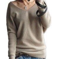 Женский кашемировый свитер  свободный свитер с глубоким треугольным вырезом и крыльями летучей мыши на весну и осень