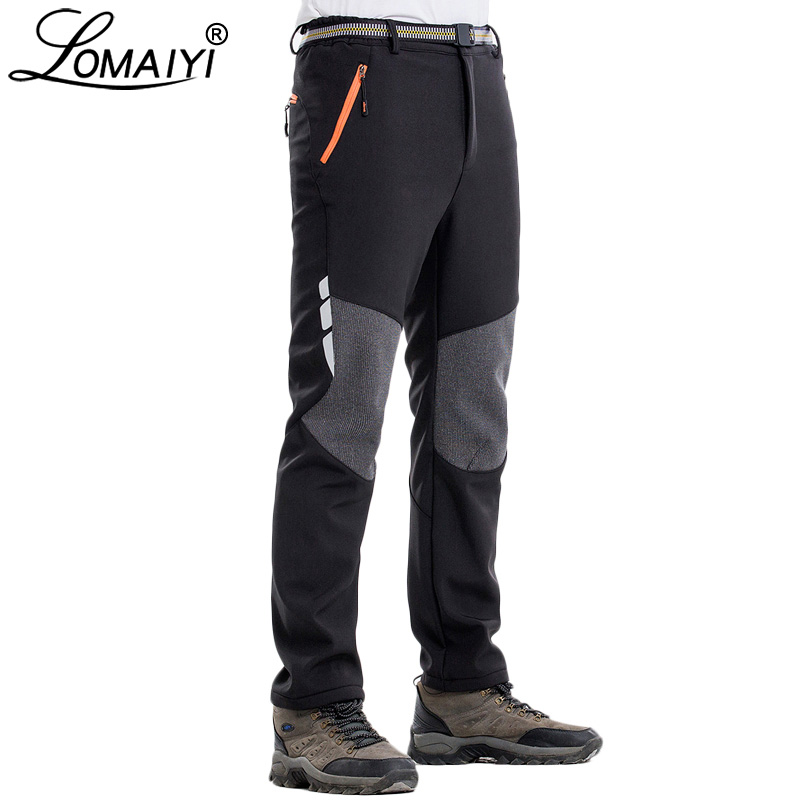 LOMAIYI Men's Winter Pants Men Reflective Warm Fleece Softshell Trousers Mens Cargo Pants Male Loose Waterproof Sweatpants AM339