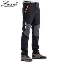 LOMAIYI Men's Winter Pants Men Reflective Warm Fleece Softshell Trousers Mens Cargo Pants Male Loose Waterproof Sweatpants AM339