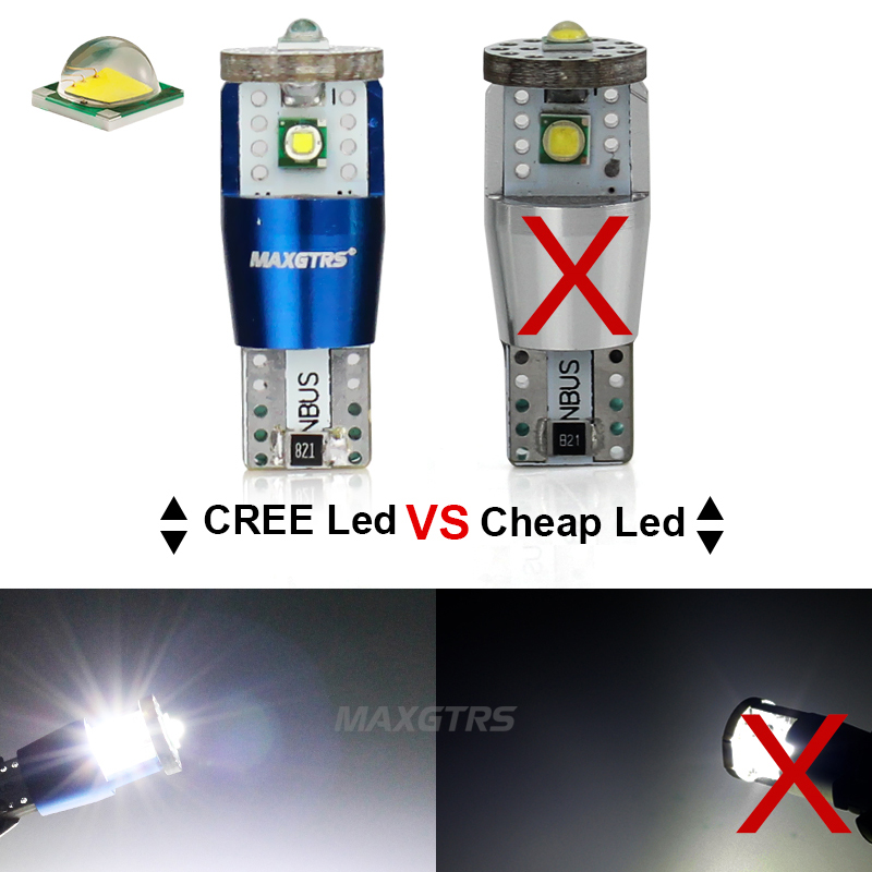 2x T10 194 W5W 15W High Power Cree Chip XP-E CANBUS NO ERROR White LED Upgrade DRL Backup Reverse Map Dome SIDE INDICATOR Lights