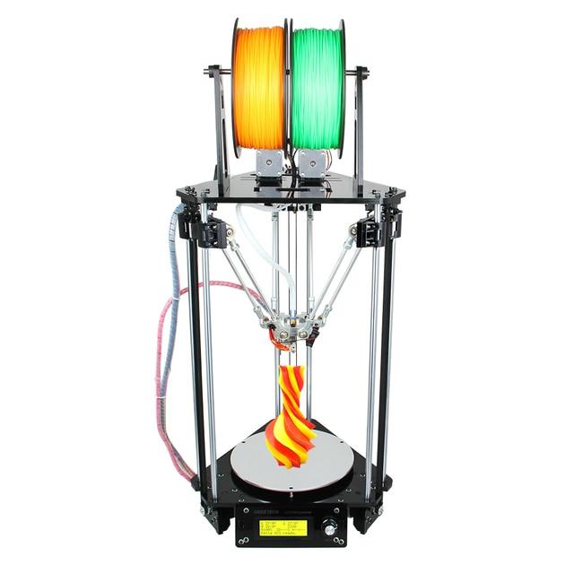 Geeetech 3D Printer Dual Heads Rostock Mini G2S Delta Auto Leveling Kits Upgraded All Metal High Resolution Impressora