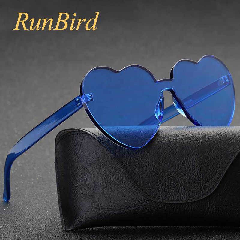 7c421bd8f2e Love Heart Sunglasses Women 2018 Rimless Frame Tint Clear Lens Colorful  Shape Cute Sun Glasses Red
