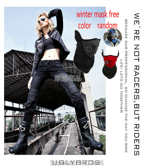 цена uglyBROS winter velvet motorcycle slim pants female knight riding racing protective jeans girls' moto sports protective trousers онлайн в 2017 году