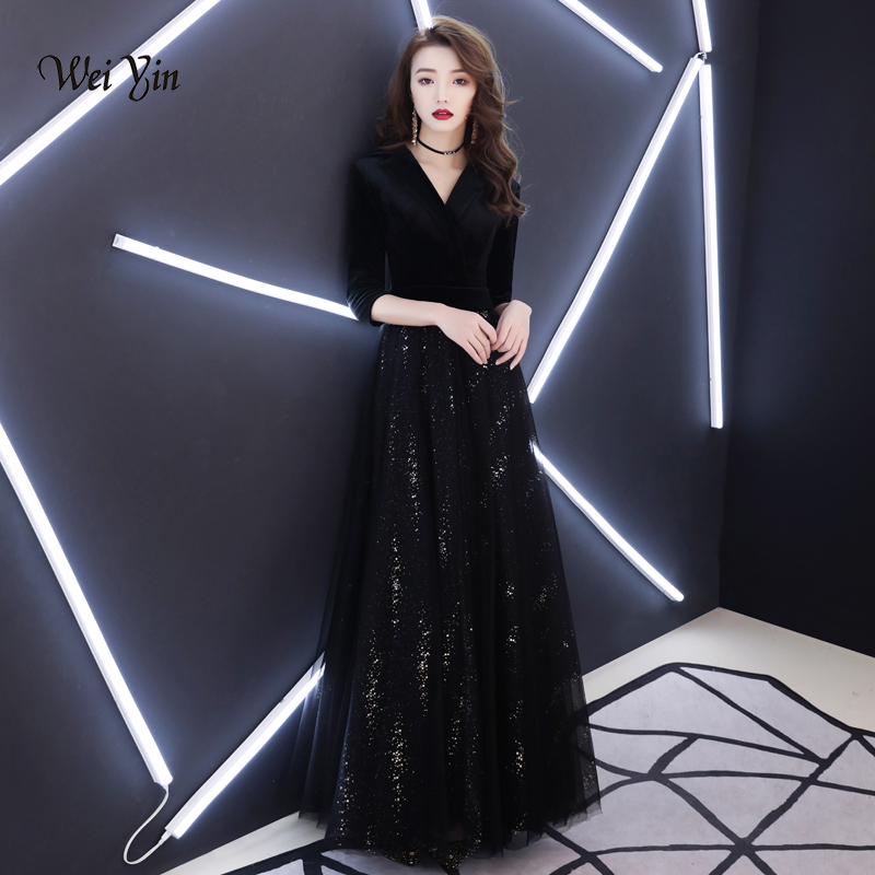 weiyin 2019 New Fashion Black A Line V Neck Spaghetti Velour   Evening     Dresses   Sexy Backless Party Gowns WY1390