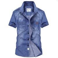AFS JEEP jean shirt men high quality cotton cowboy style camisa masculina casual denim shirt loose short-sleeve shirts 6517