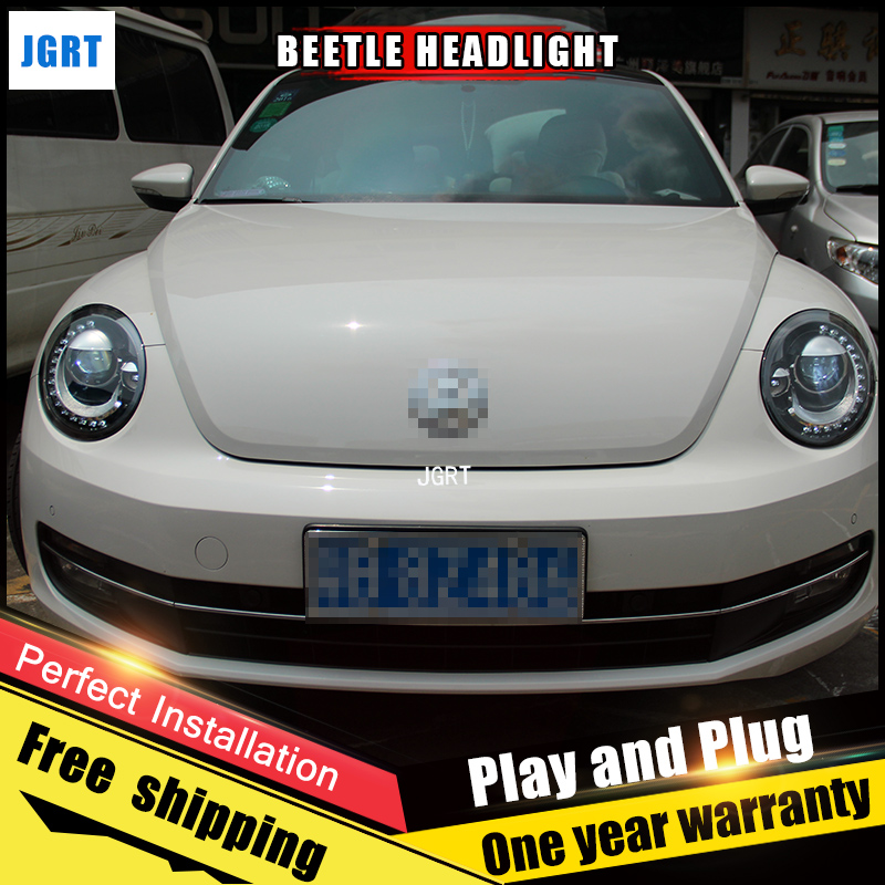 2PCS Car Style LED headlights for VW Beetle 2013-2015 for Beetle head lamp LED DRL Lens Double Beam H7 HID Xenon bi xenon lens hireno headlamp for 2013 2015 nissan tiida headlight assembly led drl angel lens double beam hid xenon 2pcs